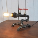 Industrial Loft Pipe Table Lamp in Black Finish with Bare Edison Bulb