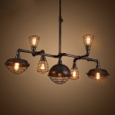 Industrial Chandelier in Black Finish with Metal Cage Frame, 7 Lights 50'' Width