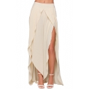 New Fashion Simple Plain Summer's Sexy Slit Side Zip Back Wide Legs Pants