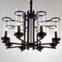 Single-Tier 8 Light LED Chandelier With Clear Glass