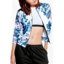 Hot Popular Floral Pattern Zip Up Collarless Long Sleeve Baseball Jacket