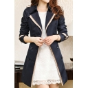 Notched Lapel Collar Long Sleeve Color Block Double Breasted Trench Coat