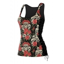 Hot Fashion Lace-Up Side Scoop Neck Sleeveless Floral Skull Printed Tank