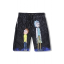 Cartoon Character Pattern Elastic Waist Loose Leisure Sports Shorts