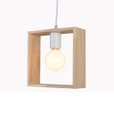 Industrial Pendant Ceiling Light with Square Oak Frame