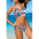 Hot Fashion Summer's Floral Printed Halter Neck String Bottom Bikini Swimwear