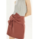 New Fashion Plain Bow Knotted Front Zip Back Simple Office Lady Mini Skirt