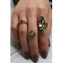 New Arrival Fashion Retro Ring Set Studded with Crystal