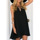 Summer's Oversize Lace-Up V Neck Sleeveless Plain High Low Mini Tank Dress