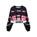 Chic Floral Printed Round Neck Long Sleeve Loose Pullover Cropped Sweatshirt