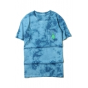 Fingers Printed Pocket Round Neck Short Sleeve Tie Dye Casual T-Shirt