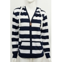 Women's Striped Color Block Zip Fly Hoodie Sweatshirt