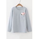Cartoon Cat Embroidered Pocket Round Neck Long Sleeve Striped Print T-Shirt