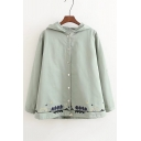 Forest Embroidered Hem Long Sleeve Hooded Single Breasted Cotton Coat