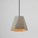 Industrial Hanging Pendant Light with Concrete Shade in Grey