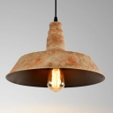 Industrial Hanging Pendant Light with Rust Pattern Shade, Mini or Full Sized