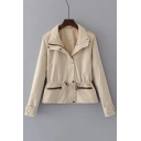 Folded Collar Long Sleeve Drawstring Waist Plain Zip Up Coat