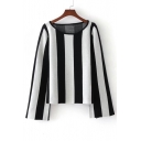 Classic Color Block Black&White Striped Printed Round Neck Long Sleeve Sweater
