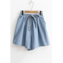 Simple Plain Elastic Drawstring Waist Loose Wide Legs Denim Shorts