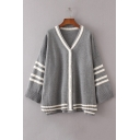 Color Block Striped Printed V Neck Long Sleeve Buttons Down Cardigan