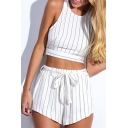 Summer Sleeveless Cropped Tank with Belt Waist Shorts Vertical Striped Co-Ords