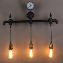 Industrial Pipe Wall Sconce in Black Finish with Pressure Gauge Accent, 26'' Width 3 Lights