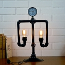 Retro Industrial Table Lamp in Black Finish, 2 Lights Uplighting