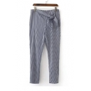 Classic Striped Pattern Zip Side Knotted Waist Casual Tapered Pants