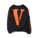 Hip Hop Style Letter V Pattern Round Neck Long Sleeve Pullover Sweatshirt