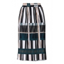 New Fashion Elastic Waist Color Block Striped Print Sashes Midi Pleated Skirt