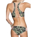 Sexy Hollow Out Lace-Up Back Fashion Printed Tankini Swimwear