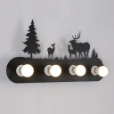 Industrial Vintage Wall Light with Deer and Pine Tree in Black Finish, 4 Lights