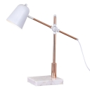 White Task Lighting with Marble Base Adjustable Arm