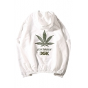 Basic Simple Leaf Letter Printed Long Sleeve Hooded Zip Up Unisex Sun Coat