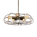 Rust Iron Five Light LED Close to Ceiling Light in Vintage Industrial Style