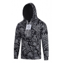 Hot Fashion Floral Pattern Long Sleeve Pullover Fitted Hoodie