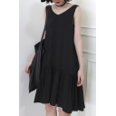 Chic Black V Neck Sleeveless Simple Plain Ruffle Hem Midi Tank Dress