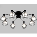 Industrial Semi Flush Ceiling Light LOFT 8 Light in Black with Wire Metal Cage
