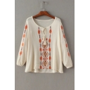 Summer's Simple Round Neck Long Sleeve Tribal Printed Loose Pullover Blouse