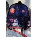 New Stylish Galaxy Cute Cartoon Cat Pattern Simple Students' Backpack