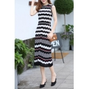 New Stylish Wave Striped Color Block Round Neck Sleeveless Midi Tank Dress