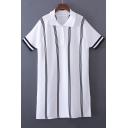 Lapel Collar Buttons Down Short Sleeve Striped Print Mini Shift T-Shirt Dress