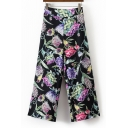 Chic Floral Printed Color Block Zip Side Wide Leg Pants