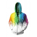 Digital Splash-Ink Pattern Long Sleeve Casual Leisure Zip Up Hoodie