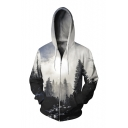 New Stylish Zip Up Long Sleeve Digital Forest Leisure Hoodie