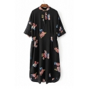 Chic Floral Pattern Stand Up Collar 3/4 Sleeve Leisure Midi Shift Dress