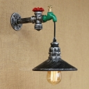 Industrial Tap Wall Sconce with Black Cone Shade, 11'' Height