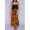 New Arrival Holiday Floral Printed Fashion Buttons Down Maxi Skirt