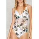 Summer's Fashion Holiday Coconut Palm Printed Spaghetti Straps One Piece Swimwear