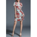 Retro Floral Printed V Neck Short Sleeve Elegant Mini A-Line Dress